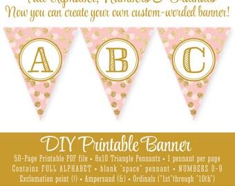 Mint Green Gold Glitter Printable FULL ALPHABET Pennant Banner