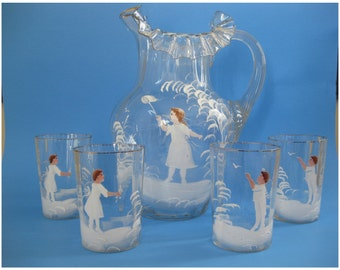 Vintage Mary Gregory Lemonade Pitcher and 4 Glasses