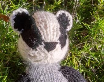 Badger hand-knit - stuffed animal badger toy