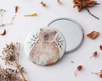 Pocket Mirror, Gift for Her, Compact Mirror, Valentines Day Gift, Bridesmaid Gift, 76mm Mirror, Stocking Filler, Brown Bear, Purse Mirror