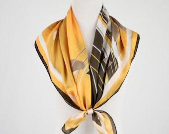 1950s Mid Century Modern Leaves Silk Square Scarf