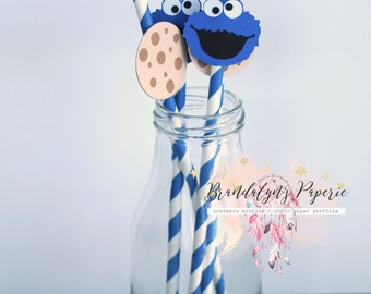 Cookie Monster Paper straws, 12 cookie and cookie monster milk straws, milk and cookie straws