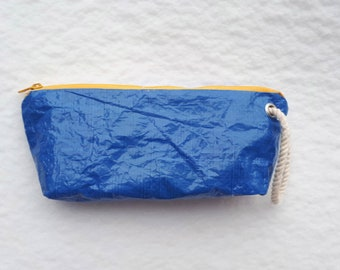 cosmetic bag, pouch bag, zipper wallet, Tarp Sheet, Construction cover, tarpaulin, original, Upcycled, Recycled