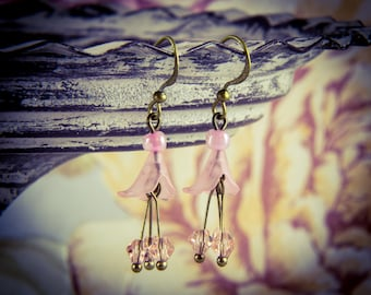 Pink Crystal and Lucite Flower Bronze Hook Earrings [E26]