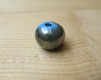 Blue ceramic bead bronze iridescent 12 mm