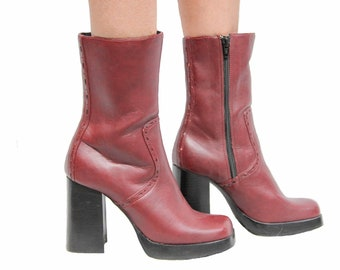 She Will Be Loved Maroon Platform Boots