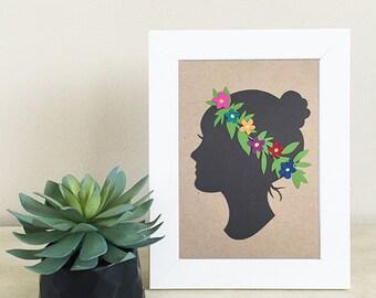 Floral Silhouette Papercut - 5x7