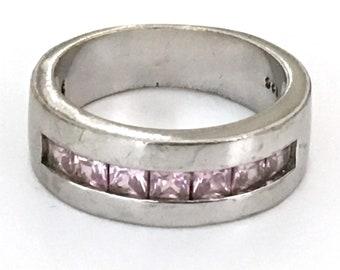 Pink Morganite Band Ring Size 8 925 Sterling Silver crlm-01