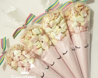 Unicorn milkshake cones