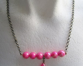 Hot Pink Neon Acrylic Bead BoHo Necklace. Collier. Playful Necklace with Neon Colored Beads and Chains