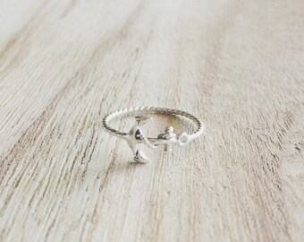Rope + anchor ring, rope and anchor ring, anchor ring, sterling silver ring, sterling silver anchor ring, rope ring