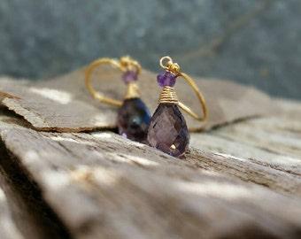 Purple Amethyst 14K Gold Filled Earrings, African Amethyst Drops Wire Wrap Jewelry, Gemstone Earrings, Dainty Earrings, February Birthstone