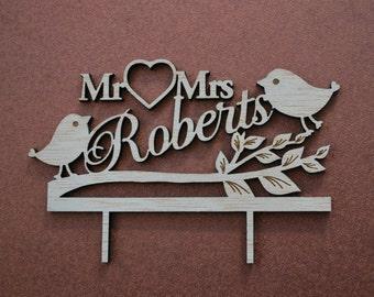 love birds wedding cake topper / rustic wedding cake topper / cake topper birds / Mr and Mrs cake topper / laser cut on wood