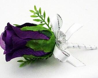 Men's wedding boutonniere flowers boutonnieres purple flower lavender boutineer prom flower lapel mens rose white silver boutonniere