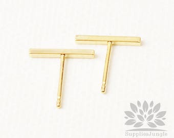E290-G// Glossy Gold Plated 1 x 12mm Square Stick Post Earring, 4pcs