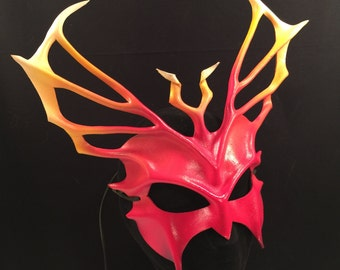Festival Mask RED Fire Leather Mask Cosplay Demon Mask TRITON Larp Cosplay Costume Carnival Mardis Gras Renaissance Faire Costume Halloween