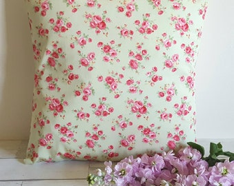 Floral cushion cover, green floral cushion, shabby chic cushion, pink floral cushion, flower cushion, green floral pillow, cottage decor