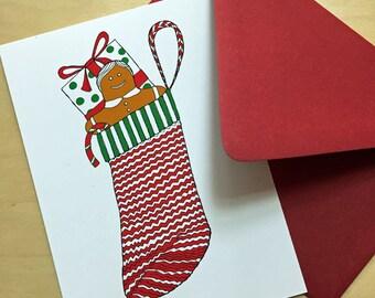 Set of 9 Stocking Christmas Card