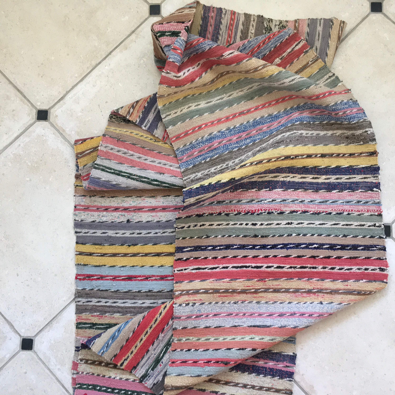 Vintage Swedish Rag Rug with Multi Colored Stripes Twist Weave
