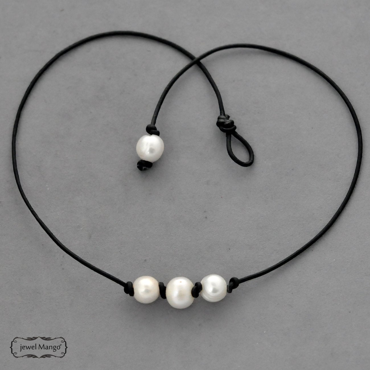 il necklace triple listing pearl black leather fullxfull zoom