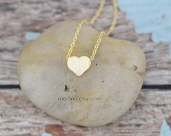 Gold Tiny Heart Necklace, Gold Small Heart Necklace,Bridesmaid Gift, Bridal Shower Gift, Flower Girl Necklace, Birthday Gift  -4017