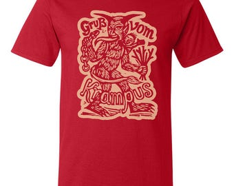 Krampus T-shirt - Clearance Sale - Red Unisex T-shirts - Krampus Holiday T-shirt Sale - Free Shipping - Mens Clothing - Womens Clothing