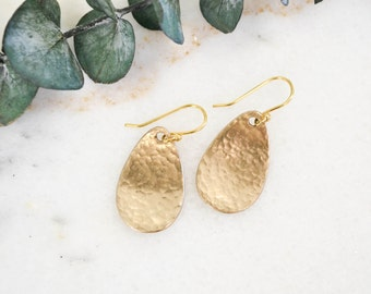 Minimalist Earrings | Dangle Earrings | Simple Earrings | Hammered Earrings | Gold Drop Earrings | Teardrop Earrings | Modern Earrings