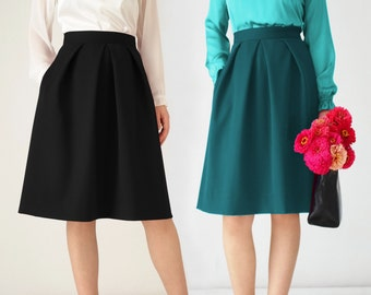 Black pleated skirt, midi, petrol, red, pockets, knee length, office, elegant, high waist, gray, festive, office clothing, navy, ivory,cream
