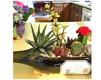 SALE! - Wine Bottle Planter (no plants) / Gift For Her / Wine Gifts / Wine Bottle Decor / Indoor Planters / Indoor Plants Succulent Planter