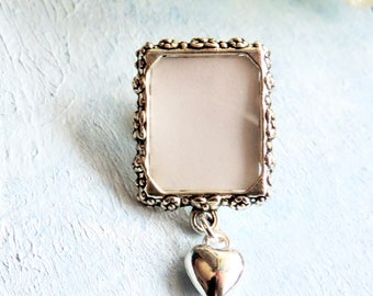 Memorial photo lapel pin with tiny heart and small picture frame. Graduation gift. Remembrance photo brooch. DIY or I do photo.