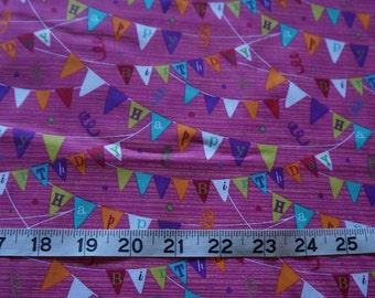 Happy Birthday Banner Pink Fabric - 2 yards