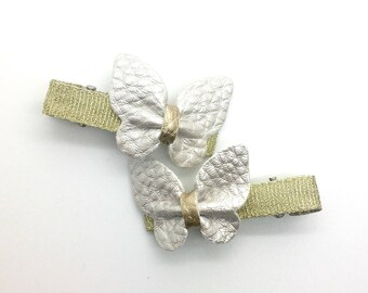 Leather Butterfly Hair Clip Silver Leather Hair Clip Girls Hair Clip Spring Hair Clip 2pcs