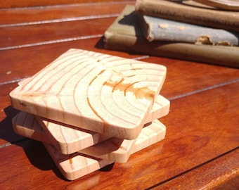Square Tree Ring Coasters, Set of 4