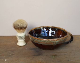 Coffee and Cream Spotty Wet Shaving Bowl / Lather Bowl - UK