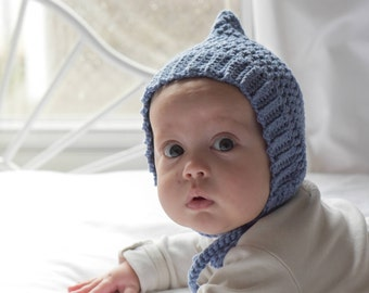 Knit Baby Bonnet, Toddler hat, Denim Blue, Ribbed Crochet Bonnet, Crochet Baby Bonnet, Pixie Bonnet, Pixie Hat, Baby Gift, Baby Hat