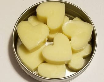 Mini Heart-Shaped Solid Lotion Bars, Fragrance-free, Natural, Raw Cocoa Butter Massage Bar