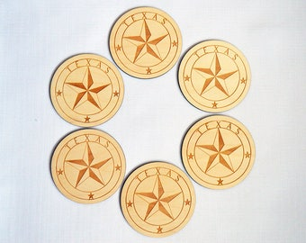 Texas Star Coasters, America, Wooden Decor, Home Decor
