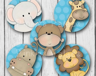 Jungle Animal Stickers Elephant Giraffe Monkey Hippo Lion Envelope Seals Favor Stickers Label Birthday Boy