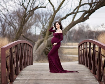 Maternity Dress-Maternity Gown for Baby Shower-Royal Blue Maternity Dress Long Sleeves-Fitted Maternity Gown for Photo Shoot-PENELOPE Gown