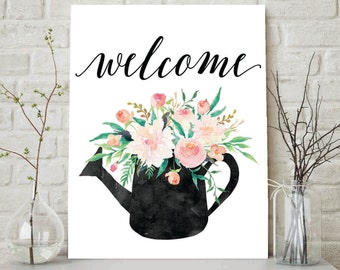 Welcome Print, Welcome Sign, Floral Welcome, Wall Decor, Flower Welcome Sign, Welcome Home Sign, Wall Decor, Shabby Chic Print, Housewarming