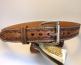 Carry-belt Hand-tooled leather. (belt only)