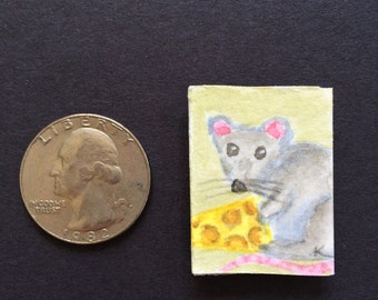 Rat with cheese magnet miniature watercolor painting art cute
