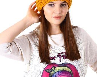 Wool ocher hand knitted hat/Wool beanie hat/Warm winter hat/Womens Slouchy Hat/Gift idea for her/Knitted Beanie/Knitted wool beanie 112