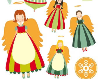 Angel Clipart, Christmas Clipart, angel Christmas, Instant download, Hand Drawn