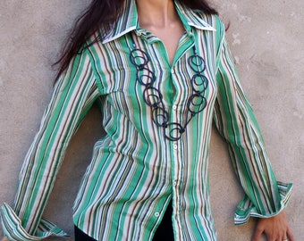 DOLCE and GABBANA Blouse, Shirt, D & G, Made in Italy, colorful, green, Pinstripes, Cotton, Long sleeves, Business, green, Casual, Size M