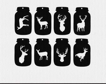 mason jar deer gift tags svg dxf jpeg png file stencil monogram frame silhouette cameo cricut clip art commercial use