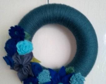 Felt flower wreath, garland