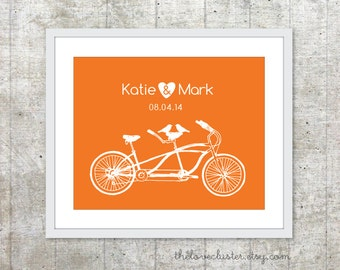 Wedding Personalized Couples Print - Love Poster- Tandem Bike and birds - Wall Art - Tangerine Orange