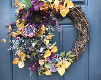 Fall Wreaths, Fall Wreath, Purple Yellow, Fall Decor, Fall Decorating, Front Door Wreaths, Fall Door Decor, Gift for Her, Front Door Fall