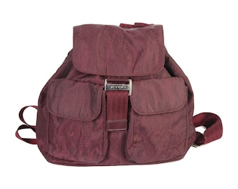 Etro backpack shoulder bag bordeaux canvas woman made italy vintage